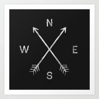 minimal Art Prints featuring Compass by Zach Terrell