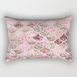 Rose Gold Blush Glitter Ombre Mermaid Scales Pattern Rectangular Pillow