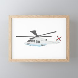 White and Grey Helicopter Framed Mini Art Print