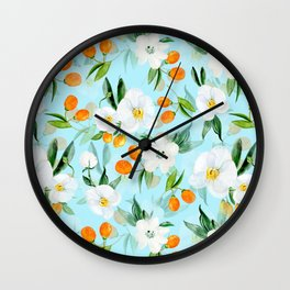 mediterranean summer kumquat and orchid branches on turquoise Wall Clock
