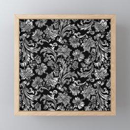 Black & Silver Vintage Floral Damasks Pattern Framed Mini Art Print