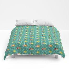 April Showers - Spring Rain Umbrella Pattern in Teal Comforters