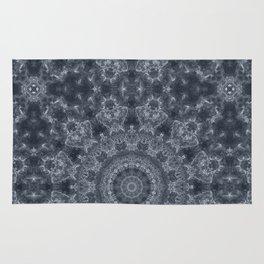 Gray - blue marble kaleidoscope, ornament elements print Rug
