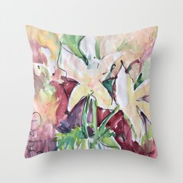 Wild Flowers in Color, Watercolors Throw Pillow