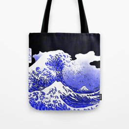 BLUE & WHITE HOKUSAI WAWE REBOOT Tote Bag