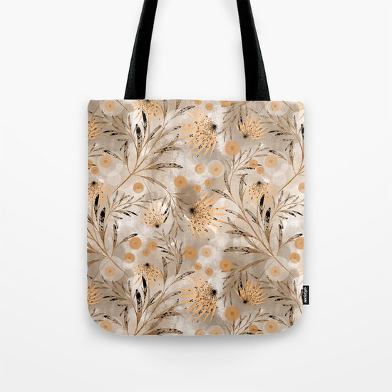 Beige floral pattern. Tote Bag