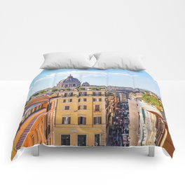 ROME the Streets:  Rooftop View of Rome, Italy Comforters