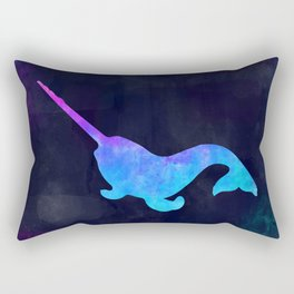 NARWHAL IN SPACE // Animal Graphic Art // Watercolor Canvas Painting // Modern Minimal Cute Rectangular Pillow