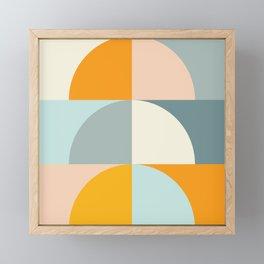 Summer Evening Geometric Shapes in Soft Blue and Orange Framed Mini Art Print