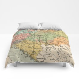 Vintage Map of Austria and Hungary (1911) Comforters