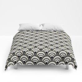 Monochrome and Gold Art Deco Scallops Comforters