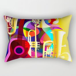 Colorful music instruments with guitar, trumpet, musical notes, bass clef and abstract decor Rectangular Pillow
