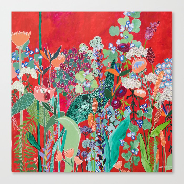 Red floral Jungle Garden Botanical featuring Proteas, Reeds, Eucalyptus, Ferns and Birds of Paradise Canvas Print