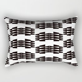 Tribal Triangle Kilim in Black + White Rectangular Pillow