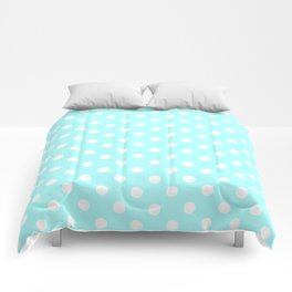 Small Polka Dots - White on Celeste Cyan Comforters