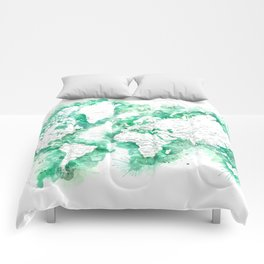 Detailed world map watercolor strokes in green Comforters