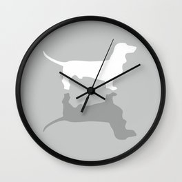 Silver Dachshund Pattern Wall Clock