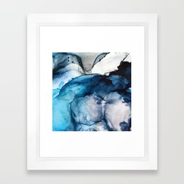 White Sand Blue Sea - Alcohol Ink Painting Framed Art Print