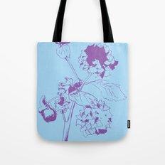 Hydranga - purple on blue Tote Bag