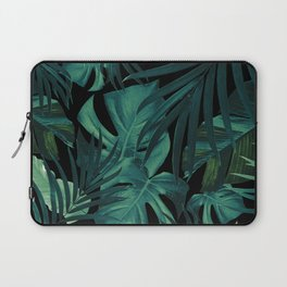 Tropical Jungle Night Leaves Pattern #1 #tropical #decor #art #society6 Laptop Sleeve