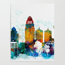 Louisville colorful watercolor skyline Poster