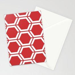 Madder Lake - red - Geometric Polygon Pattern Stationery Cards