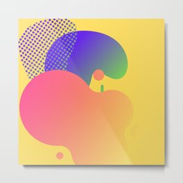 Mult Color Geometic Shapes on Yellow Orange Background Metal Print