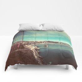 San Francisco Bay from Golden Gate Bridge Comforters