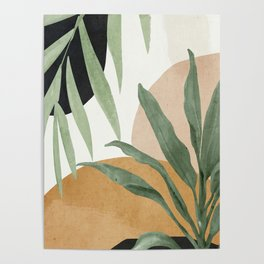 Abstract Art Tropical Leaves 4 Poster