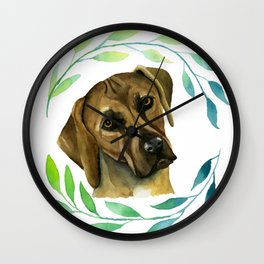 Rhodesian Ridgeback with a Wreath Watercolor Painting Wall Clock