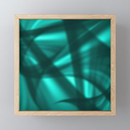 A flowing pattern of smooth light blue lines on the fibers of the veil with light luminous transitio Framed Mini Art Print