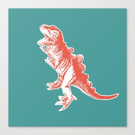 Dino Pop Art - T-Rex - Teal & Dark Orange Canvas Print
