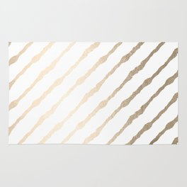 Simply Diagonal Stripes in White Gold Sands on White Rug