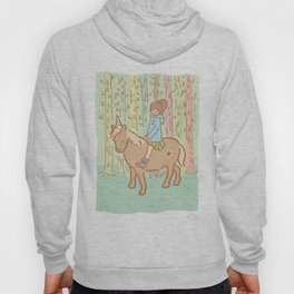 Girl in blue coat on an unicorn, in a forest Hoody