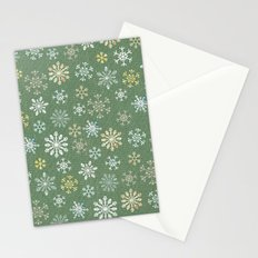 christmas snowy green Stationery Cards