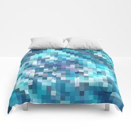 geometric square pixel pattern abstract in blue Comforters