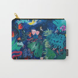 Brightly Rainbow Tropical Jungle Mural with Birds and Tiny Big Cats Carry-All Pouch