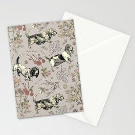 BASSET HOUNDS pattern - gray Stationery Cards