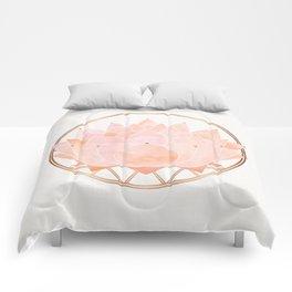 Blush Zen Lotus ~ Metallic Accents Comforters
