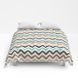 Aqua, Brown, and Black Chevron Stripes Comforters