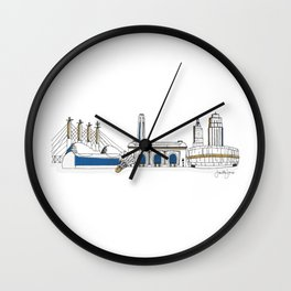Kansas City Skyline Illustration in KC Royals Colors Wall Clock
