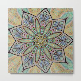 Stained Glass Window - Mandala Art Metal Print