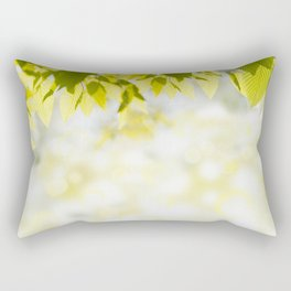 Elm green leaves and blurred space Rectangular Pillow