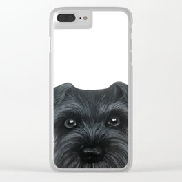 Black Schnauzer, Dog illustration original painting print Clear iPhone Case