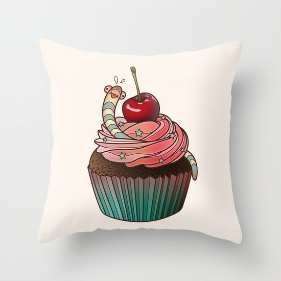 SWEET WORMS 1 - cupcake Throw Pillow