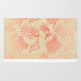 Coral & Gold Pattern with Polka Dots Rug