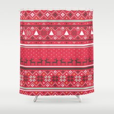 Festive FairIsle - Red Shower Curtain