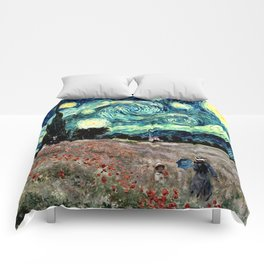 Monet's Poppies with Van Gogh's Starry Night Sky Comforters