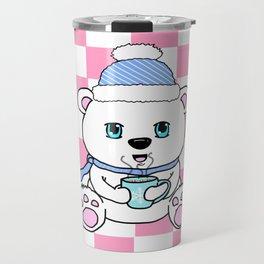 Polar Bear Drinking Hot Chocolate Travel Mug