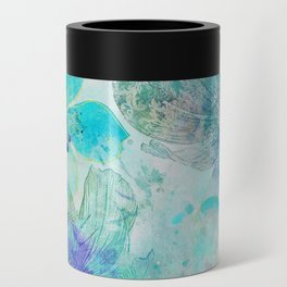 blue turquoise mixed media flower illustration Can Cooler